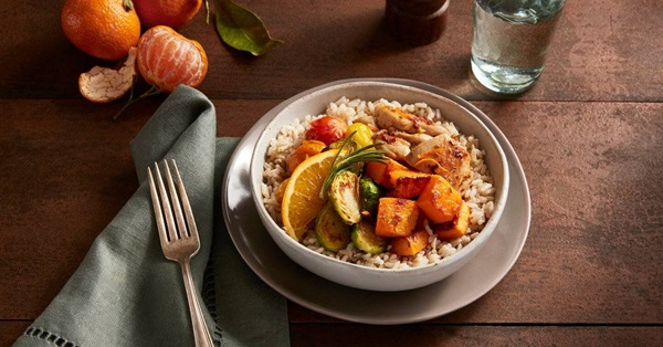 recipe image Rosemary Orange Chicken & Vegetable Brown Rice Bowls