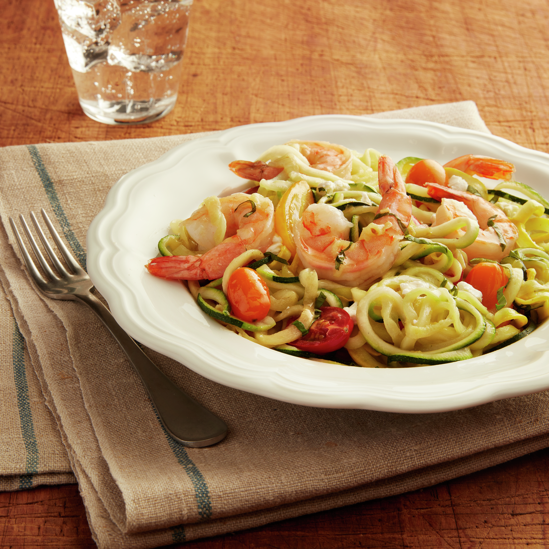 recipe image Zoodles with Shrimp & Heirloom Tomatoes