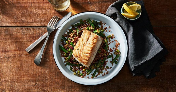 recipe image Cod with Warm Farro & Vegetable Salad