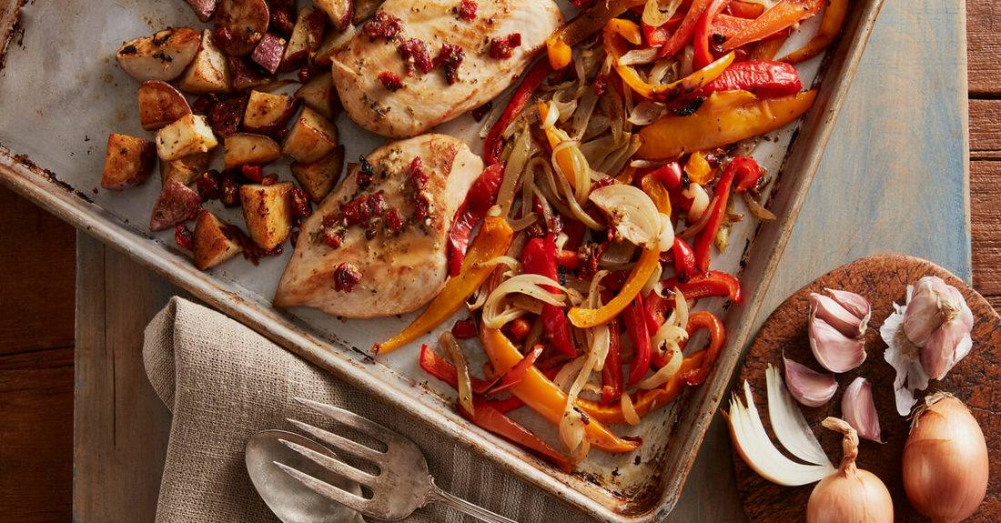 recipe image Sheet Pan Tuscan Chicken & Vegetables